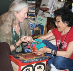 Cynthia Jurs with elder, Grandmother Rita at an Earth Treasure Vase blessing