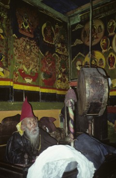 His holiness, Charok Rinpoche at 106 years old in his home in Nepal when Cynthia Jurs met with him