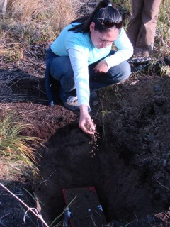 Cathy dropping earth into the hole for the Alaska Earth Treasure Vase. This vase was buried far out in the tundra, never to be disturbed