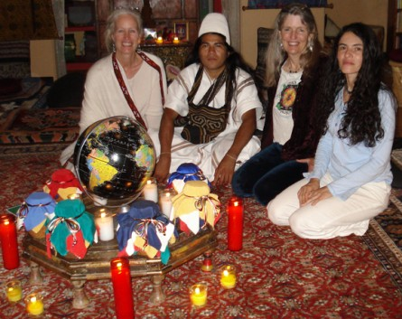 Cynthia Jurs, Asdrubal, Shannyn, _____ together in Santa Fe, NM laying the groundwork for the Earth Treasure Vase dedicated to Colombia