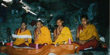 Earth Treasure Vase Ceremony with Buddhist Monks in the cave above Los Alamos