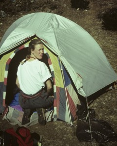 Cynthia Jurs camping near the home of his holiness, Charok Rinpoche