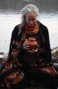 Cynthia Jurs with Earth Treasure Vase in ceremony in Alaska