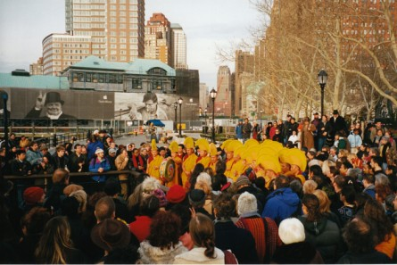Tibetan Monks and huge crowd in NYC for ETV Ceremony