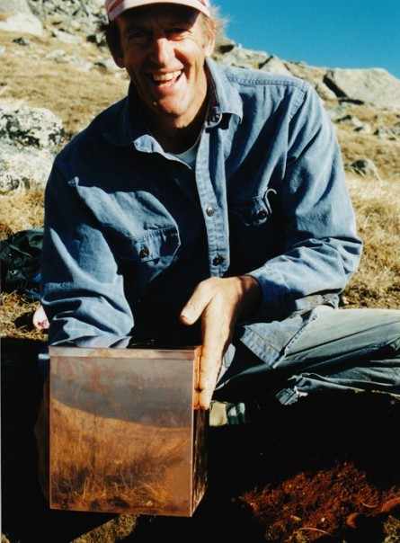 david with box on Mt. Baldy