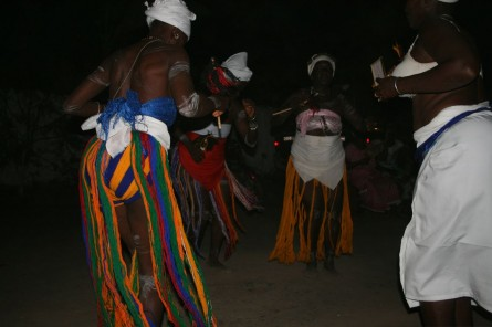 The women perform the ceremonial dance